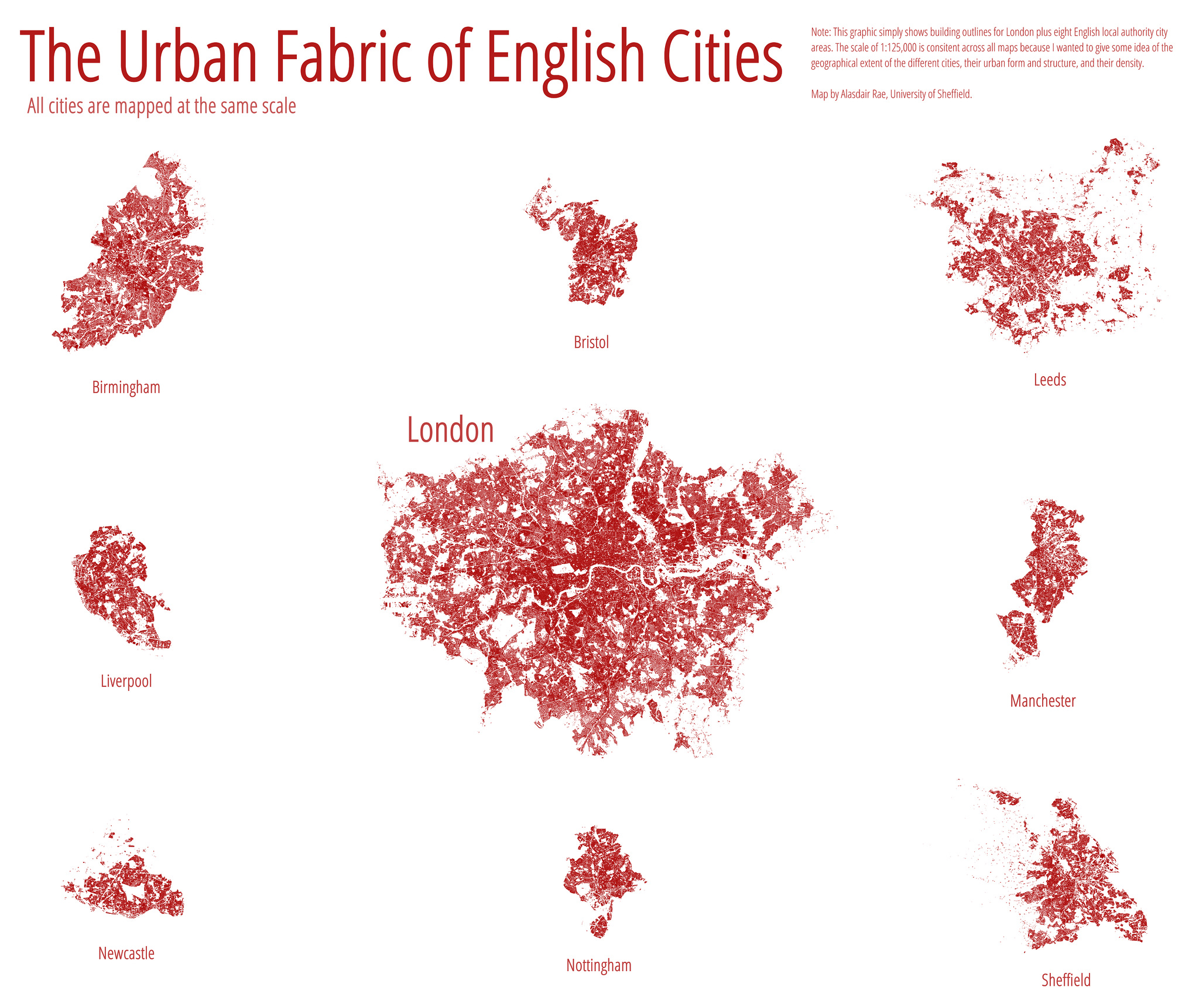 "Imagen de Alasdair Rae ""The Urban Fabric of English Cities  I created this image using the buildings layer from Ordnance Survey's Open Data VectorMap District product."" https://flic.kr/p/qixmSq"
