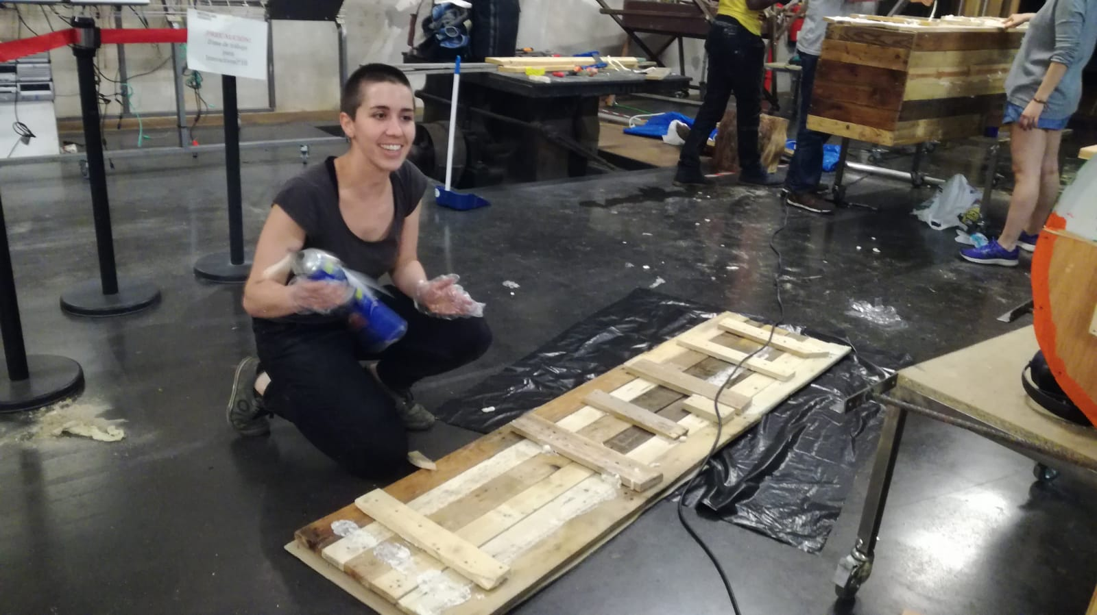 Construction of the boxes needed for buoyancy.